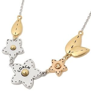 Coach necklace gold rose silver flower star gift